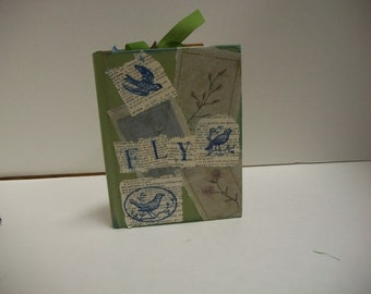 Altered Book FLY Reclaimed Upcycled Pocket Book Memory Keeper