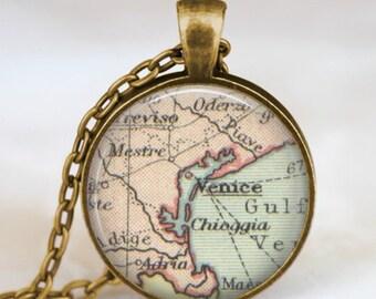 Venice map necklace,Venice Italy map pendant, Venice map jewelry , map pendant jewelry  with gift bag