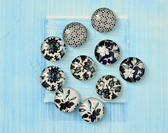 10pcs assorted deep color flower round clear glass dome cabochons / Wooden earring stud 12mm (12-0852)