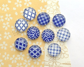10pcs handmade assorted geometric blue and white round glass dome cabochons 12mm (12-1014)