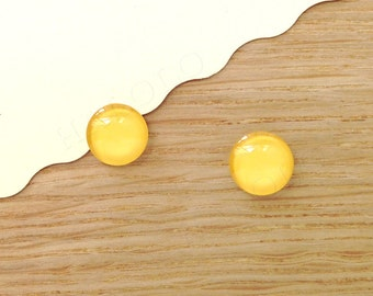 Sale - 10 pcs handmade yellow color glass cabochons 12mm (12-91235)