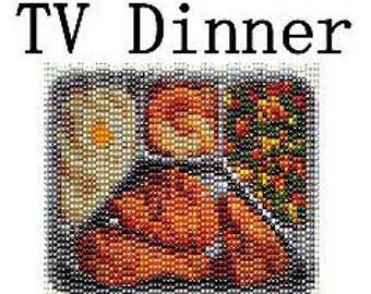 Peyote Tapestry Pattern TV Dinner Retro Fried Chicken Beaded Panel Three 3 Drop Peyote