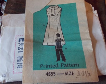 SALE Inches Slimmer DRESS PATTERN 1970s Vintage Sewing Patterns, 2 patterns, 3 dresses