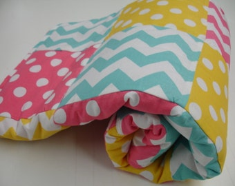Chevrons and Dots in Hot Pink Yellow  and Aqua Minky Blanket MADE TO ORDER