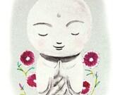 Zen Art Jizo Buddha Print Watercolor Illustration Print Home Wall Decor Smile Soft Grey Pastel Gray White Healing Spiritual Yoga Art Namaste