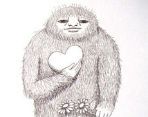 Bigfoot Sasquatch Illustration Print Black and White Rustic Home Wall Decor Yeti Love Illustration Gift for Her Ink Drawing Heart Flower 5x7