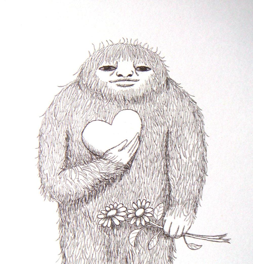 Ink Illustration: Bigfoot Sasquatch Yeti Love Ink Drawing Illustration By