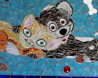 "Dog and Cat Stained Glass Mosaic titled ""Love is a Four Legged Word"""