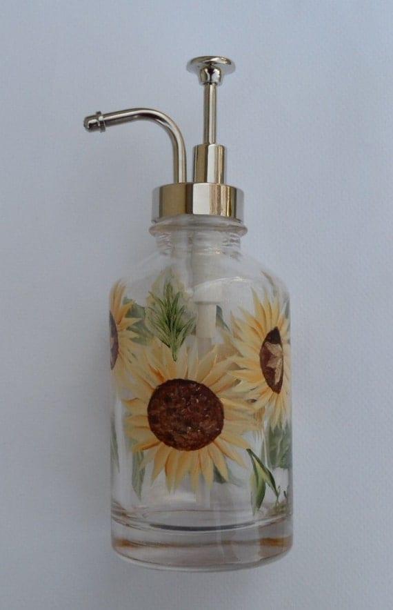 Sunflower Soap Dispenser Hand Painted Glass Soap Dispenser