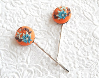 2 orange blue brown hairpins,  polymer clay bobby-pins,  hair accessory, womens accessory