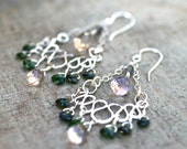 Chrome Tourmaline and Ametrine Gemstone Chandelier Wire Wrapped Sterling Silver Handmade Earrings
