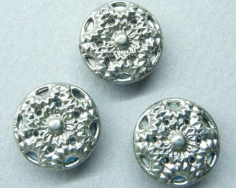 Vintage buttons, silver buttons, metal buttons, star flower, set of 3