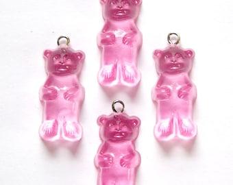 Rose Pink Gummi Bear Charms Drops chr152B