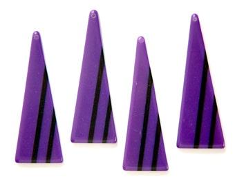 Vintage Acrylic Long Triangle Purple with Black Pendant (4) pnd171E