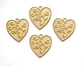 Solid Raw Brass  I LOVE U Word Heart Charm with Loop (4) chr210A