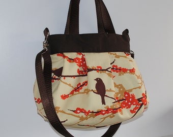 Cross Body Pleated Bag (SMALL or MEDIUM) w/ Adjustable Strap - Sparrows in Bark