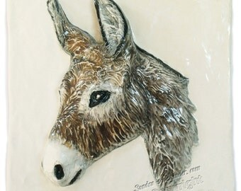 Minature Donkey Burro CERAMIC 3D Relief Sondra Alexander ART Tile ready to ship