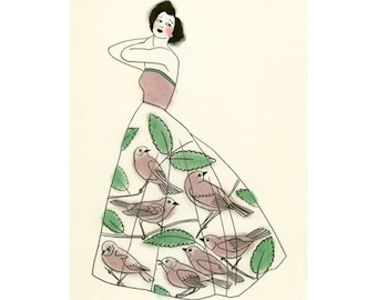 Fashion illustration art print  The Bird Cage Dress  -  8.3 X 11.7 print - 4 for 3 SALE