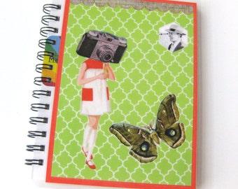 Collage Art Journal // Notebook // Camera Girl Green
