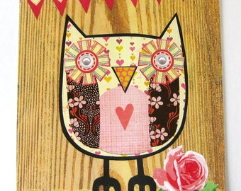 Owl Collage // Pink & Brown // Collage Art Print
