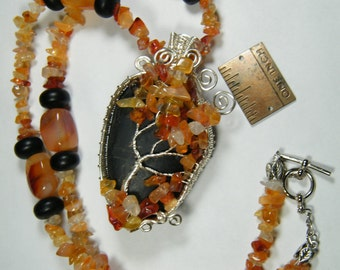 Natural Blackstone with Carnelian Tree Of Life necklace
