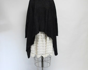 Handmade Black Tweed Sweater Tunic
