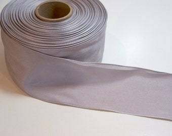 Gray Ribbon, Light Gray Wired Ribbon 2 1/2 inches wide x 10 yards, Wide Wired Ribbon, Wreath Ribbon, SECOND QUALITY FLAWED