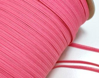 Coral Pink Skinny Elastic Sewing Trim 1/4 inch wide x 10 yards, Coral Pink Elastic