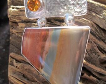 Nevada Sunrise - Royal Savannah Jasper, Madeira Citrine and Sterling Silver Pendant - Fine Art Jewelry
