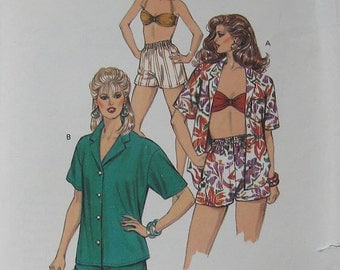 Kwik Sew Misses Shirt Shorts Bra Pattern 1420