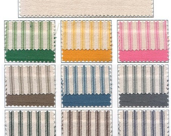 Vintage Inspired Woven Cotton Ticking Material Fat Quarter - You Chose The Color