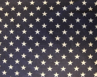 Star Fabric | Cotton Fabric | Americana Fabric | Navy Fabric With Stars |  1 Yard