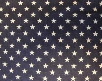 Star Fabric | Cotton Fabric | Americana Fabric | Navy Fabric With Stars |  31  x 44