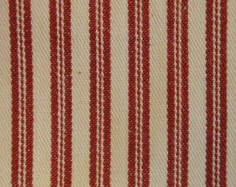 Red Ticking Material | Cotton Ticking Material | Metro Collection | 17 x 44