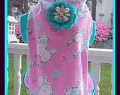 Pet Clothing To Order Pink Poodle Slip Dress with Glitter Brooch