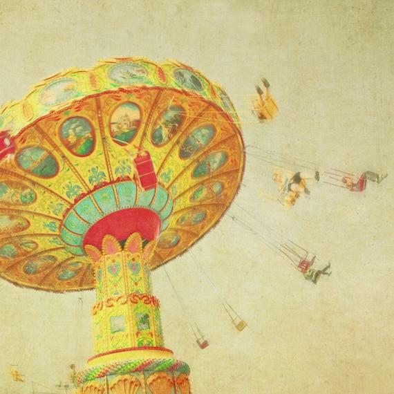 Photography print, Carnival photo, nursery art, yellow, county fair, wall art, baby, circus, fairground swing, state fair, october