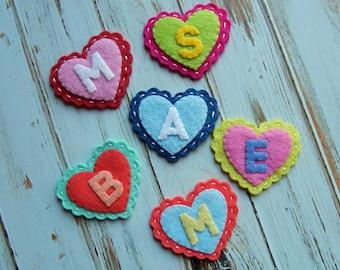 Wool Felt Scallop HEART Monogram Coins  - set of 8