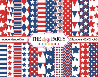 independence day digital papers patriotic printable scrapbook for fourth 4th of july