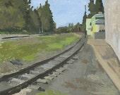 Railroad Tracks, Phoenix, OR: Original Oil Painting Plein Air Landscape