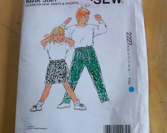 Kwik Sew 2227 child shorts and pants  sewing pattern