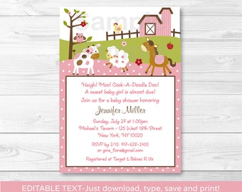 Pink Farm Animal Baby Shower Invitation INSTANT DOWNLOAD Editable PDF