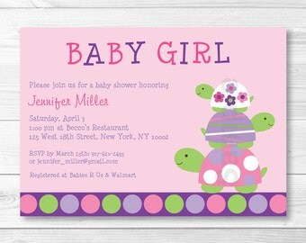 Pink Turtle Baby Shower Invitation PRINTABLE