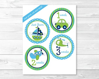 Cute Vehicles Monthly Milestone Printable Stickers / Car / Sailboat / Airplane / Helicopter / Iron Ons / INSTANT DOWNLOAD