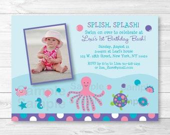 Pink Under the Sea Birthday Invitation PRINTABLE Any Age
