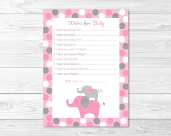 Pink Elephant Wishes for Baby Advice Cards INSTANT DOWNLOAD