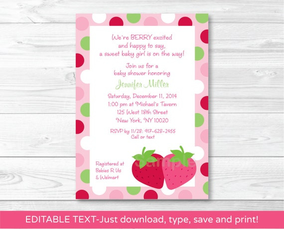 Strawberry Baby Shower Invitation INSTANT DOWNLOAD Editable PDF