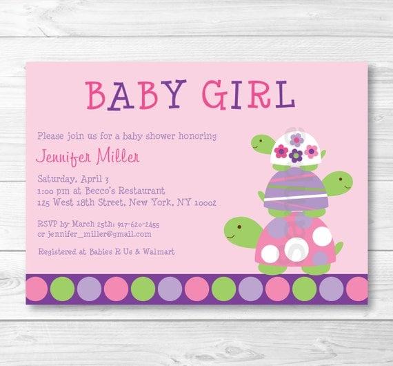 Cute pink turtle baby shower invitation turtle baby shower invite il570xn filmwisefo