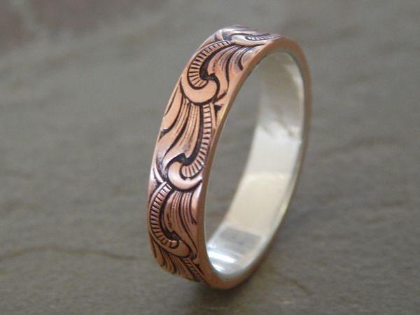 PAISLEY Silver & Copper 5mm // Men's Wedding Ring