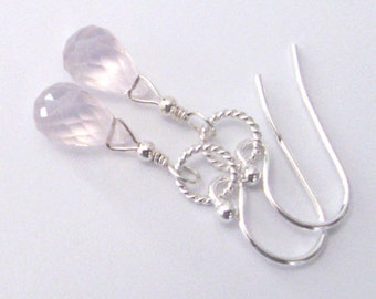 Rose Quartz Gemstone Briolette Earrings, Sterling Silver Drop Earrings Blush Pink