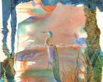 Watercolor Painting, Collage Art, Bird Art,  Bird Watercolor, Bird Art Print, Watercolor and Paper Collage Print Titled Egret At Sunset